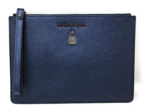 Michael Kors Adele XL Large Zip Leather Clutch Wristlet Purse in Midnight