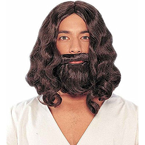 EPGW Men's Jesus Wig and Beard Set Adult for Cosplay Costume Party , Brown (Brown Dreadlock Wig)