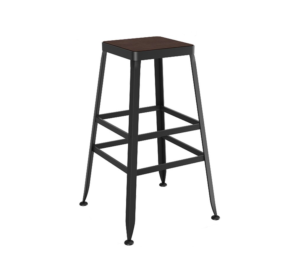 A 7540cm XJRHB Bar Solid Wood Stool Iron High Stool redating Coffee Shop Counter High Back Wood Creative Front Kitchen Chair (color   A, Size   75  40cm)