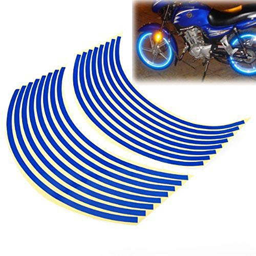"""ZYHW 16-18"""" Wheel Rim Stripe Reflective Decal Tape Sticker for Car Motorcycle Cycling Bike Bicycle (Blue)"""