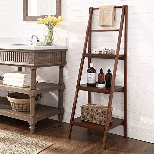 Bookshelf Xiaomei, Solid Wood Ladder Frame Bathroom Shelf Floor Simple Storage Rack Flower Stand American Bedroom Bookshelf-133.545.643cm (Color : Walnut)