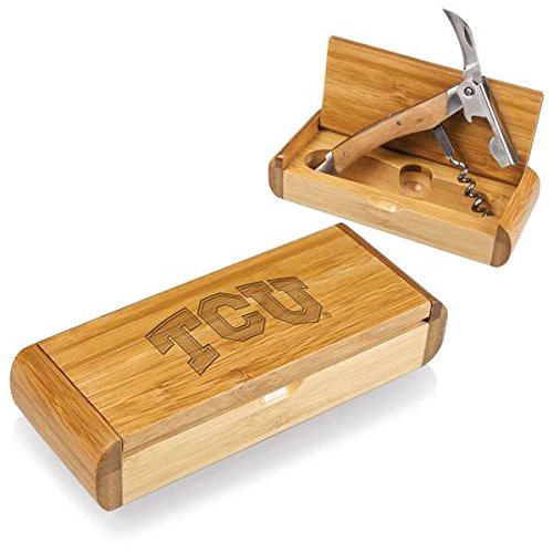 NCAA Texas Christian Horned Frogs Elan Deluxe Waiter's Corkscrew in Gift Box, Bamboo by PICNIC TIME