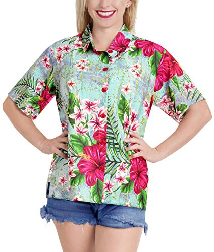 LA LEELA Women's Floral Print Beach Shirt Short Sleeves Multi_80 L - US 38-40D ()