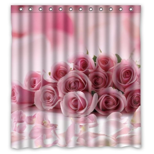 Hipster Bathroom Home Decoration,pink Rose Shower Curtain, Shower Rings  Included,Polyester Waterproof