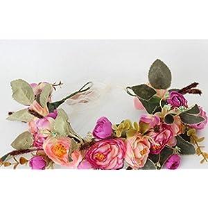 Kinue Novelty Party Decor Bohemian Artificial Camellia Wreath Bride or Bridesmaid Headband_Purple+Red 114