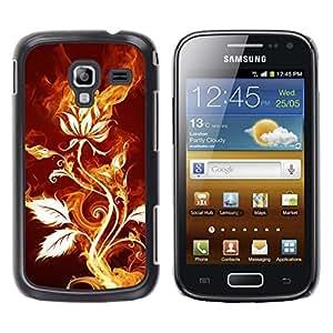 TECHCASE**Cubierta de la caja de protección la piel dura para el ** Samsung Galaxy Ace 2 I8160 Ace II X S7560M ** Rose Flower Magical Fire Art Nature Plant