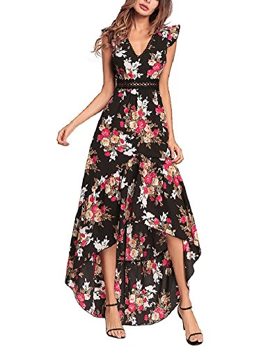 Elegant Backless Floral Maxi Dress High Low Sexy Cocktail Party Dress Black - Formal Backless Dresses