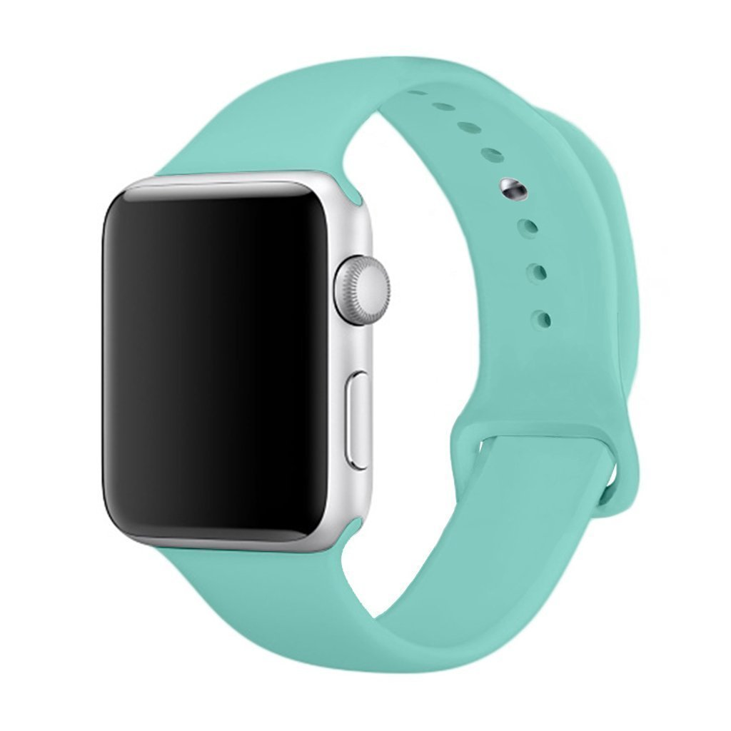 iMOMO [3 Pieces] Watch Band Soft Silicone Sport iWatch Band [2 Lengths] Large/Small Wrist Strap Replacement For Apple Watch Models 38mm - Turquoise