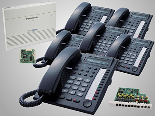 New Panasonic KX-TA824 with KX-TA82493 Caller ID Card + KX-TA82483 3x8 Expansion Card and 6 New Panasonic KX-T7730 Black Phones