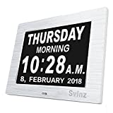 [Newest Version]Metal Digital Calendar Day Clock,Digital Memory Loss Day Clock with Digital Photo Frame, Extra Large Non-Abbreviated Day & Month for Seniors Visually Impaired Blinds Elderly Alzheimer