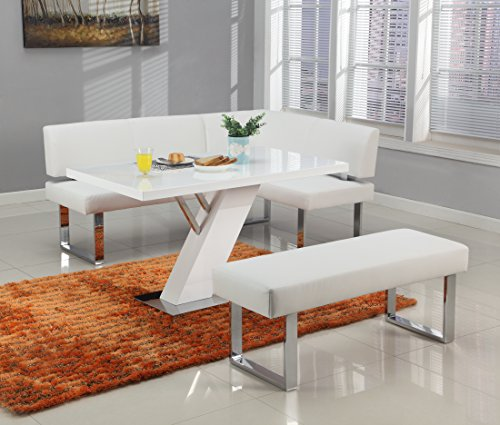 Milan LILLIAN-3PC Lillian Gloss White Modern Design Dining Table With Nook and Bench