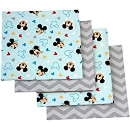 Disney Let\'s Go Mickey Mouse Flannel Soft Nursery Bed Cotton Blanket Made with Soft Fabric,blue, 4-pack