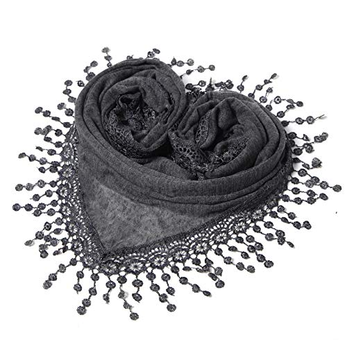 Ladies Scarf - Cindy & Wendy Lightweight Triangle Floral Fashion Lace Fringe Scarf Wrap for Women (SSLS-Charcoal)