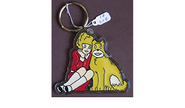 Vintage 1982 Orphan Annie /& Sandy Keychain Key Ring Chain Movie Comic Applause