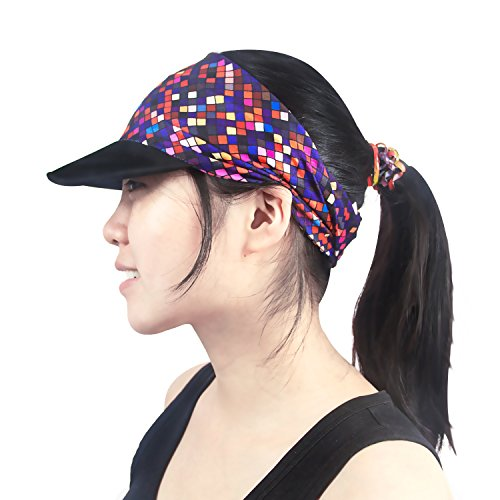 Yoga Headband - UNIQUE DESIGN Women Headwrap with UV Sun Protective Soft Visor Brim for Running/Hiking/Golf/Outdoor - Visor Women Running