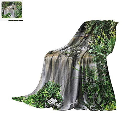 sign Cozy Flannel Blanket Huay Mae Khamin Waterfall in Tropical Rainforest Thailand Holiday Travel Theme Digital Printing Blanket 80