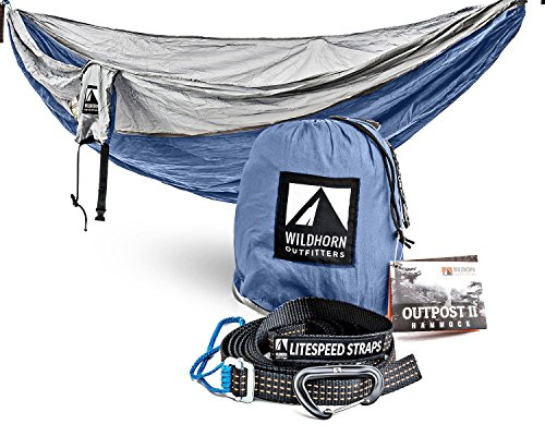 Outpost Double/Single Camping Hammock With 11 Tree Straps - 100% Parachute Nylon - Cinch Buckle Design, No Knots Required - Easiest Hammock To Hang