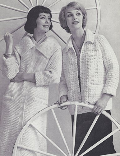 Vintage Knitting Crochet PATTERN to make - Knit Coat Crochet Jacket CoatJacket. NOT a finished item. This is a pattern and/or instructions to make the item only.