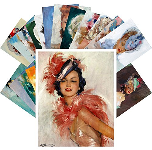 - Postcard Pack 24pcs Beautiful Girls by Jean-Gabriel Domergue Vintage French Pin Up