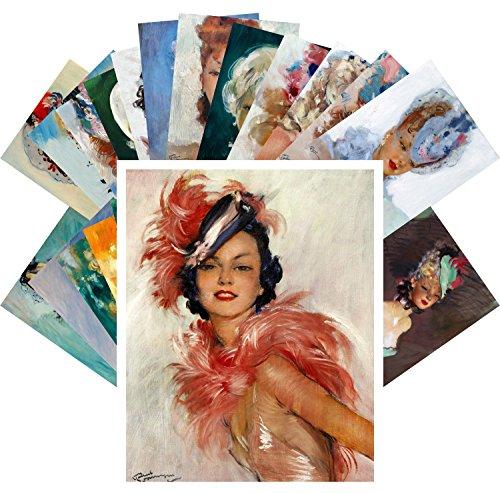 Postcard Pack 24pcs Beautiful Girls by Jean-Gabriel Domergue Vintage French Pin ()