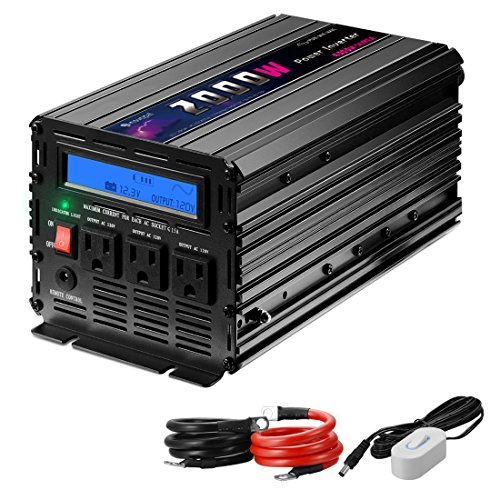 Novopal Power Inverter Pure Sine Wave Power Inverter 2000 Watt 3 AC Outlets DC 12v to AC 120v with Remote Control, Big LCD Display(Surge 4000W)