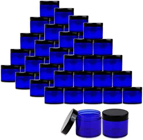 Beauticom 2 oz./60 Grams/60 ML (Quantity: 36 Packs) Thick Wall Round COBALT BLUE Plastic LEAK-PROOF Jars Container with BLACK Lids for Cosmetic, Lip Balm, Creams, Lotions, Liquids