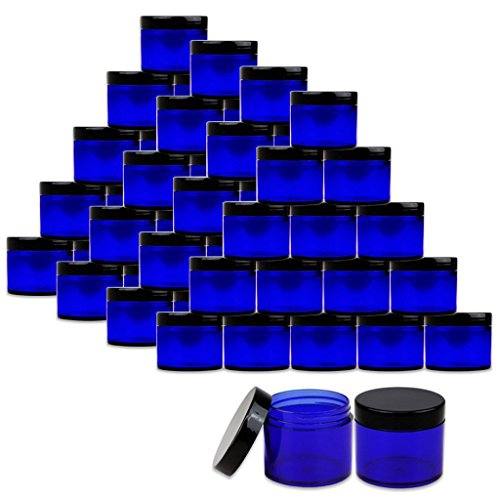 Beauticom 2 oz./60 Grams/60 ML (Quantity: 36 Packs) Thick Wall Round COBALT BLUE Plastic LEAK-PROOF Jars Container with BLACK Lids for Cosmetic, Lip Balm, Creams, Lotions, Liquids (Blue Plastic Cosmetic Jars)