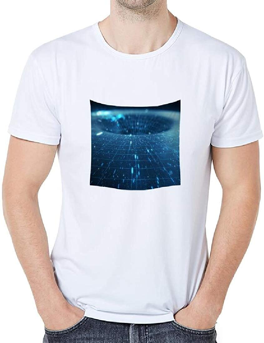 Mstyle Mens Fashion Plus Size Black Hole Summer 3D Print Top Shirt