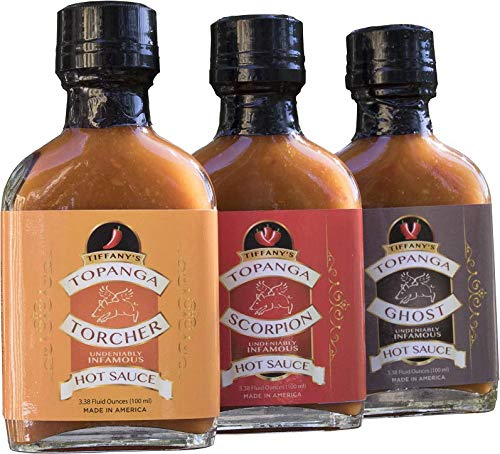 - Tiffany's Torcher Hot Sauce Three Pack Variety Gift Set. A Gourmet Sampler Collection of Seriously Flavorful Selections using Fresh, Natural Habanero, Ghost, Scorpion, Serrano and Thai Peppers.