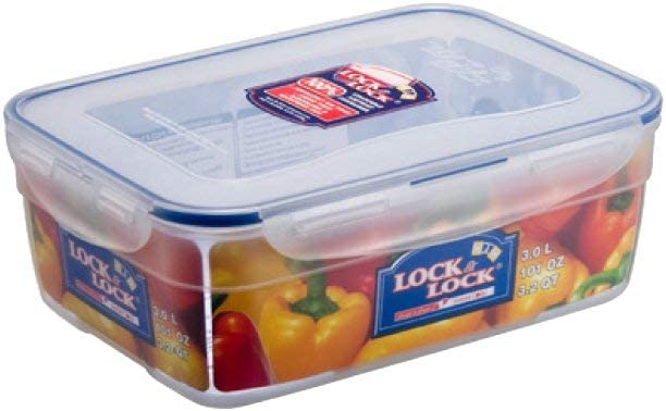 LOCK & LOCK 101-Ounce BPA Free Rectangular Nestable Style Container with Hook and Leak Proof Locking Lid, 12-1/2-Cup