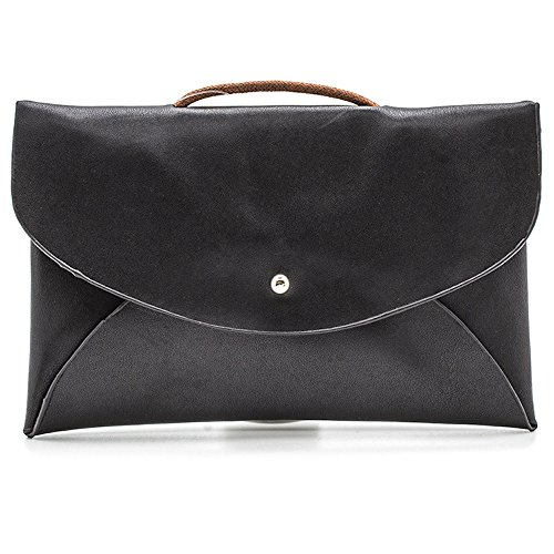 (Vegan Leather Convertible Envelope Swing Pouch Clutch (Black))