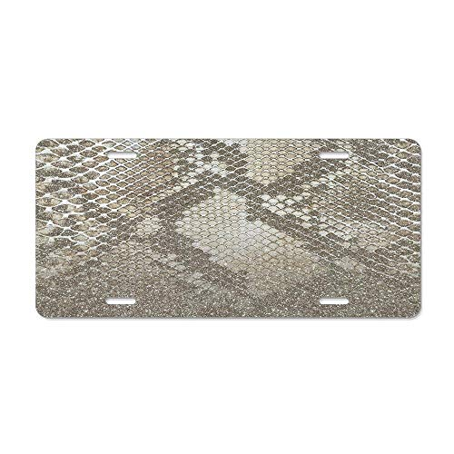 (Kingsinoutdoor Shimmer Gold Snake Glitter Abstract Aluminum Metal License Plate Cover, Decorative Front Car Tag Sign with 4 Holes,Vanity Tag 6