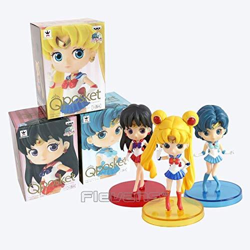(Flowe Mow Sailor Moon - Tsukino Usagi Sailor Neptune KaiOu Michiru Sailor Uranus Tenoh Haruka PVC Figures - Toys 3pcs/Set 8cm)