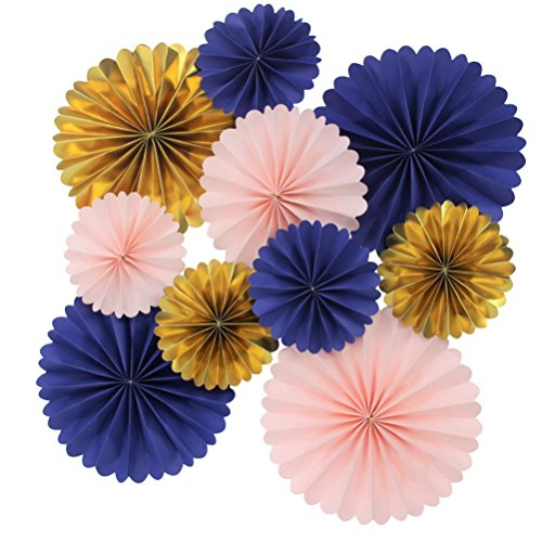 Mybbshower Paper Rosettes Navy Pink Gold for Wedding Fan Photo Backdrop Bridal Shower Birthday Party Decorations Pack of 10 ()
