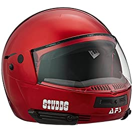 Studds Ninja Pastel Plain Flip Up Full Face Helmet (Cherry Red, L)