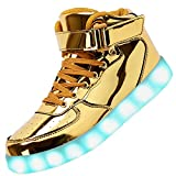Odema Women High Top USB Charging LED Shoes Flashing Sneakers, Gold, 8 B(M) US