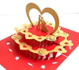3D PopUp Invitation Greeting Card Love Couple on Cake