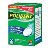 Polident Overnight Whitening, Antibacterial Denture Cleanser, Triple Mint Freshness 120 ea (Pack of 6)
