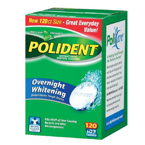- Polident Overnight Whitening, Antibacterial Denture Cleanser, Triple Mint Freshness 120 ea (Pack of 6)