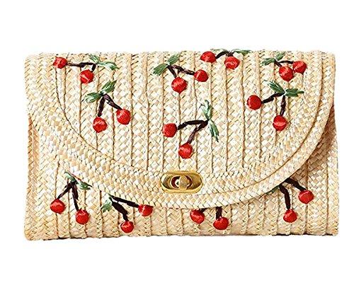 Straw Crossbody Bag Womens Weave Shoulder Bag Summer Beach Purse and Handbags (Beige Cherry)