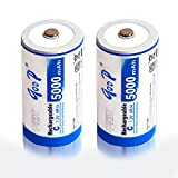GODP 1200 Cycles 5000 / 10,000mAh C / D / 9V High-Capacity Rechargeable Ni-MH / Li-ion Batteries (2, C 5000mAh)