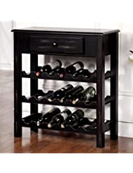 Floor Wine Rack Barth Antique Black Storage Wine Rack 32 In High X 29 5 In Wide X 12 In Deep Assembly Required
