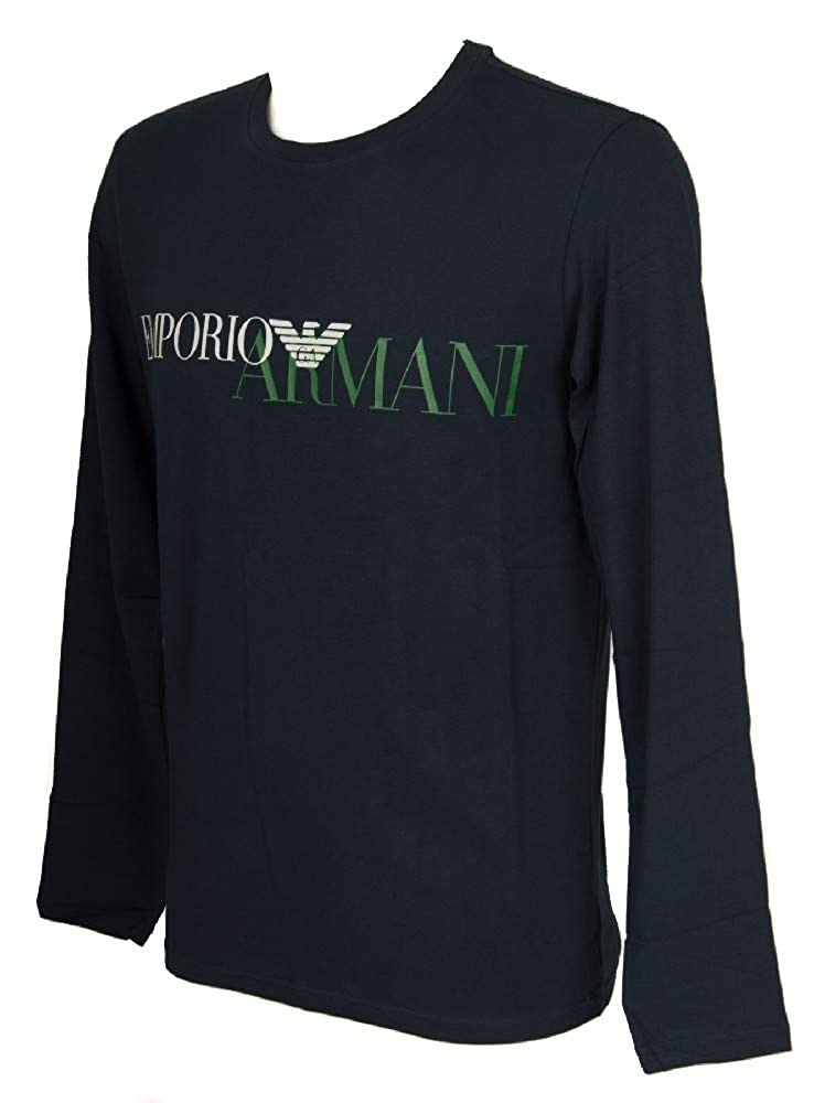 Armani Men's Crew Neck Long Sleeve Lounge Top Marine