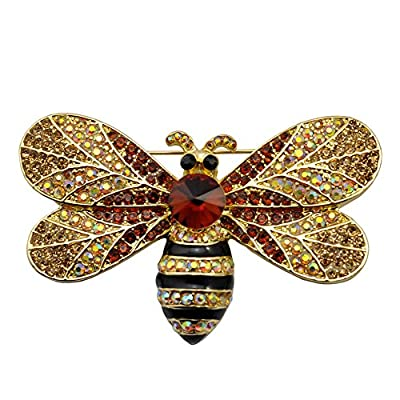 Hot TTjewelry Vintage Brown Bee Insect Gold-Tone Brooch Pin Rhinestone Crystal Woman for cheap