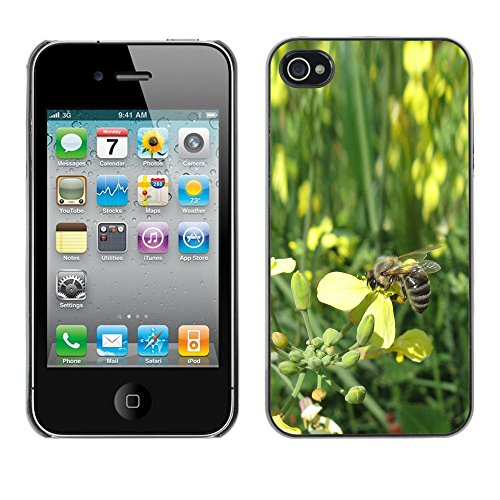 LASTONE PHONE CASE / Coque Housse Etui Shock-Absorption Bumper et Anti-Scratch Effacer Case Cover pour Apple Iphone 4 / 4S / Bee Wasp Nature Flowers Petal Green