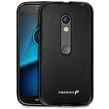 Motorola Moto X Play Case, Fosmon [DURA-FRO] Slim-Fit Flexible TPU Gel Cover for Moto X Play and Droid Maxx 2 - Fosmon Retail Packaging (Black)