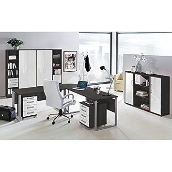 Lomado Komplett Büromöbel Set in anthrazit mit Hochglanz weiß ...