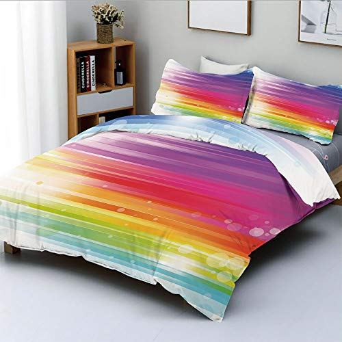 Duplex Print Duvet Cover Set Full Size,Abstract Lines in Rainbow Formation with White Circles Movement Depiction Art PrintDecorative 3 Piece Bedding Set with 2 Pillow Sham,Multicolor,Best Gift For Kid ()