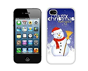 Personalized Design Christmas snowman White iPhone 4 4S Case 16
