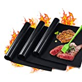 "GAINWELL 0.25mm Heavy Duty Safe BBQ Grill Mat Super Thick 15.8"" x 13"" - 3 Pack (Black)"